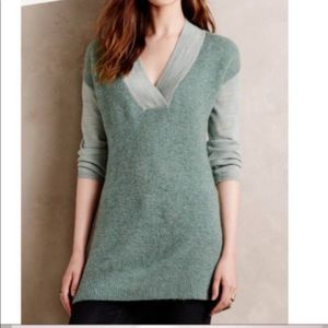 Anthro Moth Womens Sweater S Green V Neck Cozy L/S
